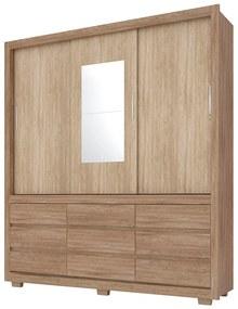Guarda-Roupa Florence D01 3 Portas com Espelho Nogal/Vanilla Touch - ADJ DECOR