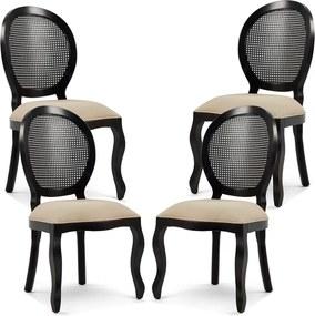 Kit 04 Cadeiras Para Sala de Jantar Cozinha Isla Provençal Preto Linho Rústico Bege - Gran Belo