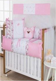Kit Berço Americano I9 baby 10 Peças Ursa Arabesco Rosa com Branco