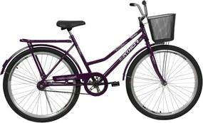 Bicicleta Aro 26 Venus com Pedal com Cestão Violeta Athor Bikes