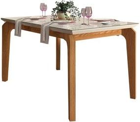 Mesa de Jantar Dália para 4 cadeiras 140cm Carvalho Nobre Off White