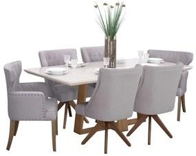 Conjunto Sala de Jantar Mesa Coyle com 4 Cadeiras Ellos Giratória Estofada e 2 Cadeiras Matelassê - Wood Prime 44666