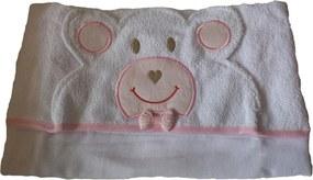 Toalha Bebê Com Forro de Fralda Capuz Urso cor Rosa