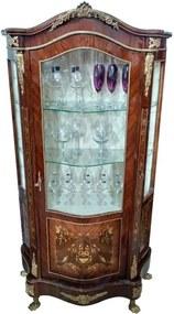 Cristaleira Clássica Marchetada com Detalhes em Bronze - 95x190x49cm