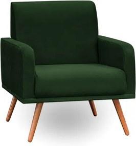 Poltrona Decorativa Pés Palito Carla Suede Verde Musgo - Mpozenato
