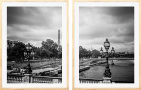 Conjunto de Quadros Decorativos Paris Torre Eiffel Kit com 2 Quadros 60x80cm