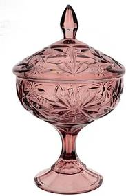 Bomboniere Decorativa Pinwheel Cor Rosa com Pé em Cristal Ecológico - 15x24cm