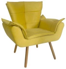 Poltrona Opala Pés Palito Decorativa Suede Amarelo