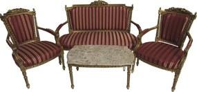 Kit Sofá Clássico Luis XV Dourado com Estofado Vermelho Listras com 2 Poltronas e Mesa de Centro
