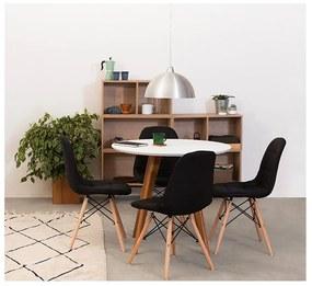 Conjunto Mesa Square Redonda Branco Fosco 80cm + 4 Cadeiras Eiffel Botonê Preta