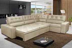 Sofa De Canto Retrátil E Reclinável Com Molas Cama Inbox Austin 3,65x2,54 Ou 2,54x3,65 Suede Velusoft Bege