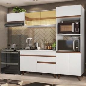 Cozinha Completa Madesa Reims XA260001 com Armário e Balcão - Branco Branco