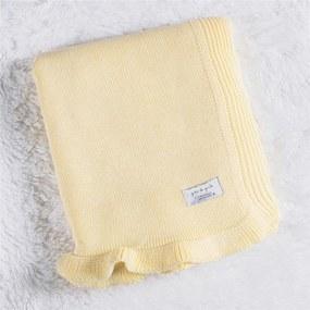 Manta Bebê Amarelo Creme Tricot Babado 80cm Grão de Gente Amarelo