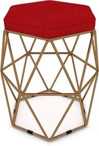 Puff Aramado Hexagonal Base de Ferro Cobre Suede Vermelho - Sheep Estofados - Vermelho