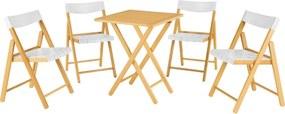 Conjunto Potenza 1 Mesa + 4 Cadeiras Dobráveis  Madeira Verniz/Plástico Branco - Tramontina