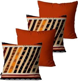 Kit com 4 Almofadas Pump UP Decorativas Étnica Abstrato 45x45cm