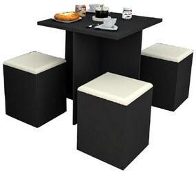 Conjunto Mesa de Jantar 120190 Preto/Bege - Appunto