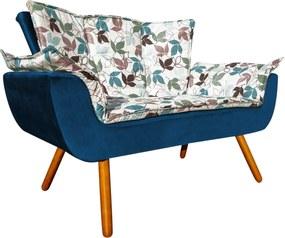 Sofá Retrô Namoradeira Opala Estampado Floral D68 e Peach Azul Marinho - D'Rossi