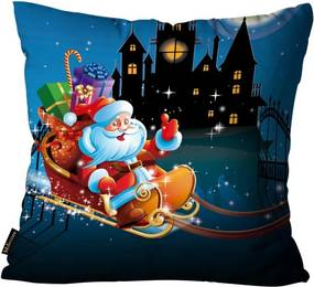 Capa para Almofada Premium Cetim Mdecore Natal Papai Noel Azul45x45cm