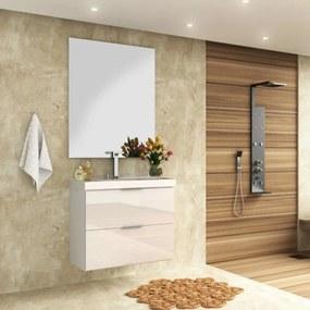 Gabinete Banheiro Suspenso Branco Brilho MDF 80cm Lilies