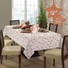 Toalha de mesa Gardenia Natal retangular 8 lugares Rose Gold - 036509