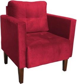 Poltrona Decorativa Lívia Para Sala e Recepção Suede Vermelho - D'Rossi