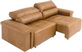 Sofá Retrátil e Reclinável 3 Lugares Maitê 226 cm Couro Camel - Gran Belo