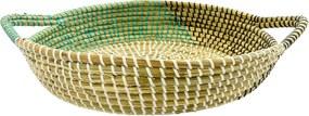 Bandeja Grande em Rattan com Detalhes Verde 10 cm x 48 cm x 38 cm