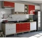 Cozinha Modulada Sicilia Argila Branco Vermelho 07 Módulos Multimoveis
