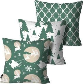 Kit 3 Almofadas Mdecore de Natal Decorativas Verde 55x55