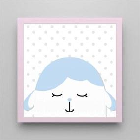 Quadro Carneirinho Azul Bebê/Rosa 38cm GrÁo de Gente Rosa