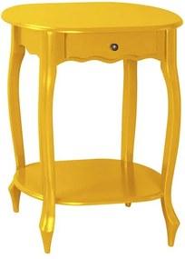 Mesa de Apoio Oval Pés Luis XV Amarelo Laca - Wood Prime PTE 38204