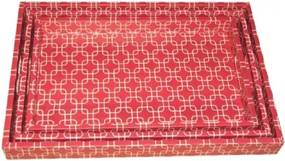 Conjunto Bandejas de Bambu Vermelha Flores 3 peças