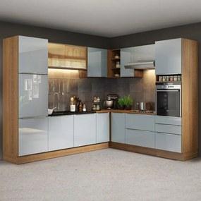 Cozinha Completa de Canto Madesa Lux 526001 com Armário e Balcão Rustic/Cinza Cor:Rustic/Cinza