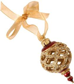 Ornamento de Metal e Strass Bola de Natal II