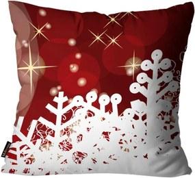 Capa para Almofada Premium Cetim Mdecore Natal Flocos de Neve Vermelha 45x45cm