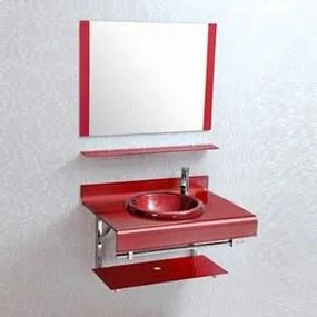 Armário Banheiro NDI Vermelho 3 Peças 70cm