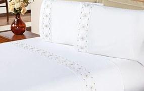 Jogo de Cama Damasco Queen Branco e Bege Bordado Flores com 4 peças - Aquarela
