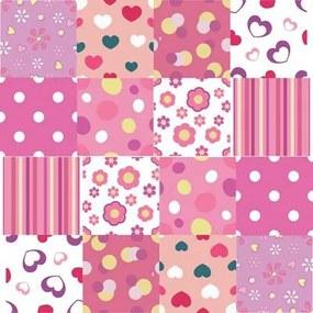 Adesivo Azulejo Poá Coração Rosa 120767500