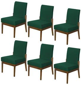 Kit 06 Cadeiras de Jantar Helena Suede Verde Bandeira
