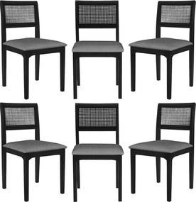 Kit 6 Cadeira Decorativa Sala de Jantar Nivea Ébano - Gran Belo