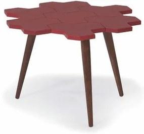 Mesa de Centro Colméia com Tampo Vermelho bordô Laqueado e Estrutura Madeira Maciça