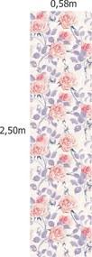 Papel De Parede Adesivo Rosas Fundo Bege (0,58m x 2,50m)