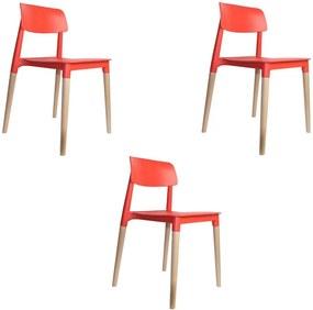 kit 3 Cadeiras Decorativas Sala e Cozinha (PP) Viper Vermelha - Gran Belo