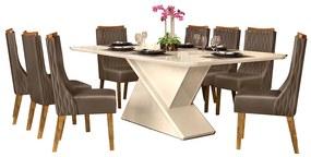Mesa de Jantar 200X100 cm Mantis D04 com 08 Cadeiras Abu Dabi Creme/Marrom Café - ADJ DECOR