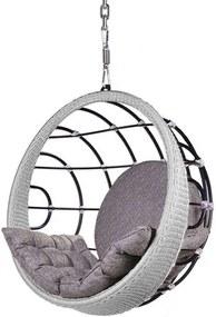 Poltrona de Balanco Bowl em Aluminio Revestido em Corda cor Prata com Suporte de Teto - 45325 Sun House