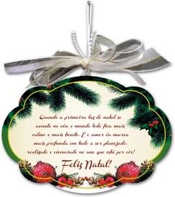 Placa Móbile Grande Luz do Natal Bege em MDF - 30x20 cm