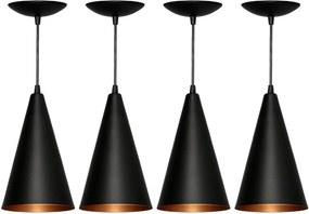 Kit 4 Pendentes Cone (preto Textura/ Bronze)