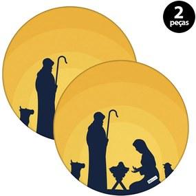 Capa para Sousplat Mdecore Natal Jesus Amarelo2pçs