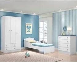 Jogo de Quarto Infantil Doce Sonho 3 Portas com Mini Cama Branco/Azul
